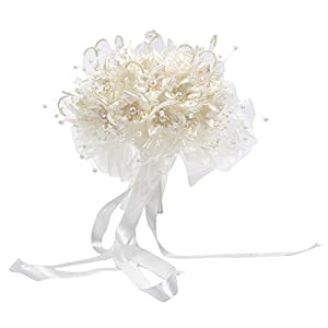 Enerhu Flower Bridal Bouquet Pearls Silk Lace Bouquet Romantic Beige Wedding Decor 13