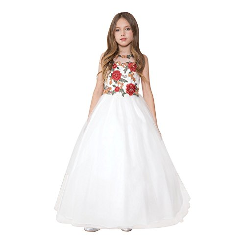 Calla Collection Big Girls Off-White Red Rose Applique Pageant Dress 12 by Calla Collection USA