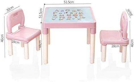 Activiteitentafel voor kinderen en stoelenset met twee stoelen Schrijftafel en opbergrek voor speelgoed Leertafel voor baby's