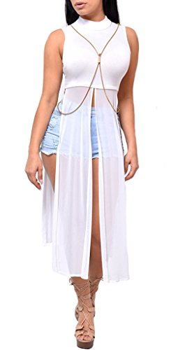 Women's Sexy Hight Side Slit Cutout Mesh Sheer Sleeveless Club Maxi Dresses Hoodie Crop Top T Shirt White M