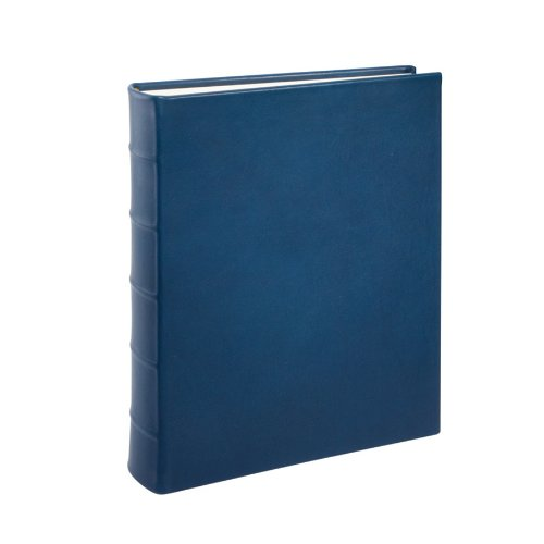 Genuine Italian Leather Bound Album, 100 Pages, Photo Squares Included, 9-1/8'' x 12-1/4'', blue