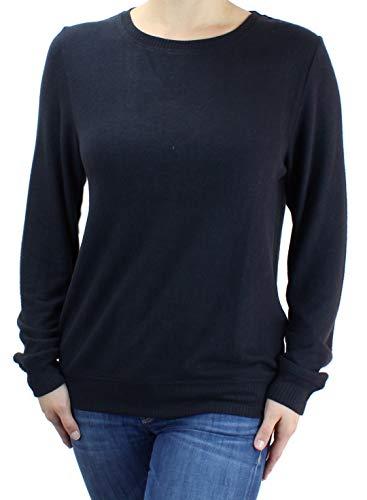 Ms Lovely Women's Ultra Soft Crewneck Pullover Sweatshirt Cute Comfy Baggy Sweater - Black Medium