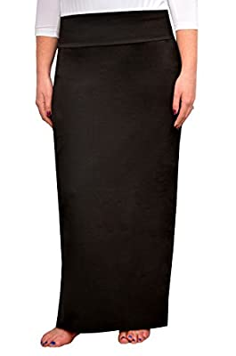 Kosher Casual Women's Modest Cotton Stretch Long Maxi Pencil Skirt