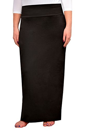 Kosher Casual Women's Modest Cotton Stretch Long Maxi Pencil Skirt XL Black