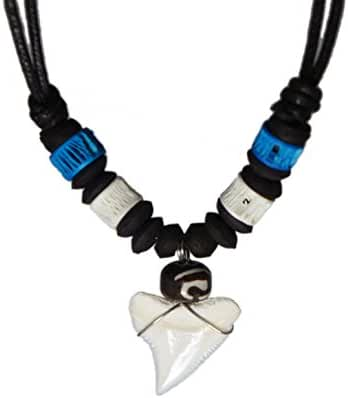 Exoticdream Real Shark Tooth Necklace Surfer Hawaiian Beach Boys Girls Men - Color White Bone
