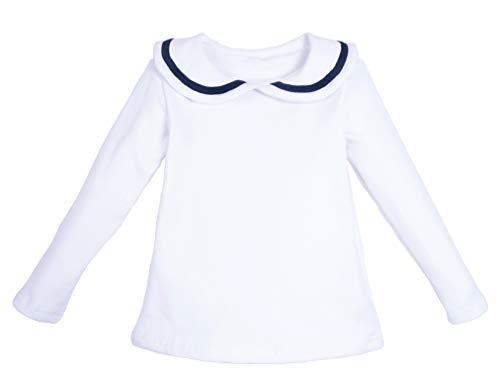 ContiKids Girls Peter Pan Collar Polo Shirt Blouse White, 5 (2-3 years) (Girls Peter Pan Collar Blouse)