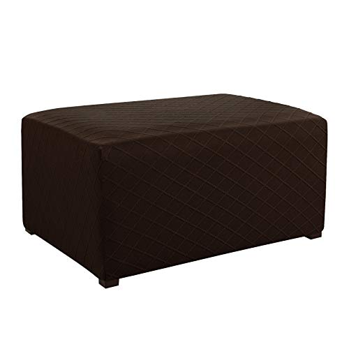 CHUN YI Stretch Rhombus Jacquard Universal Oversized Storage Ottoman Cover Furniture Protector Slipcover (Oversize, Chocolate)