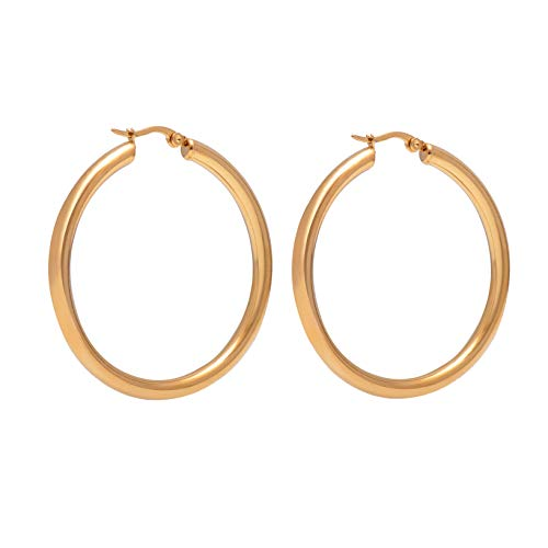 Bow Polished Nickel 4 Light - Paialco Jewelry 14K Yellow Gold Flashed Polished Round Hoop Earrings Creole Back, 2.0 Inch