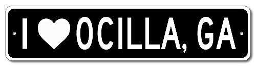 I love OCILLA, GEORGIA - Custom US City Name and State Aluminum Sign - Black - 4