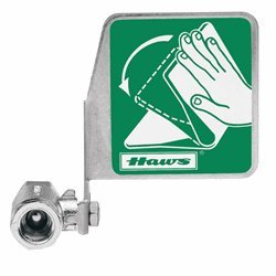 Haws SP229, Push Flag, Stay-Open Ball Eyewash Valve Assembly, Chrome-Plated Brass, Horizontal Mount, 1/2