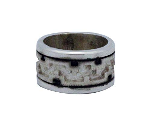 Dan Jackson, Band, Sterling Silver, Wide, Overlay Silver, Navajo Handmade, 8.5