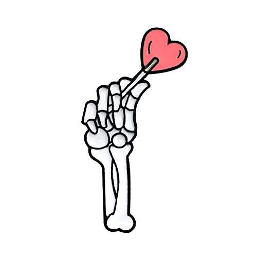 ink2055 Skeleton Hand Brooch Pin Denim Lapel Enamel Badge Love Heart Halloween Decor - 2#