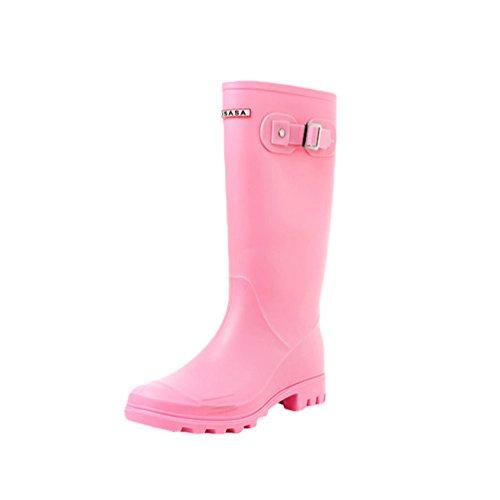 Xinwcang de Casual Wellington Impermeable para Botas Calzado Bota Boots Pink Agua Mujer ZqFrAwZfSp