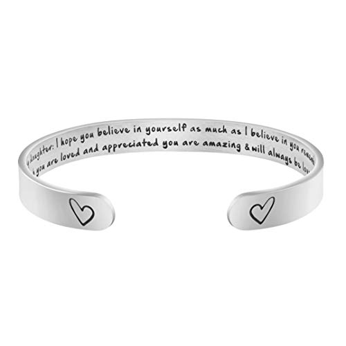 MEMGIFT Daughter Bracelets from Mom Wide Cuff Bangle Message Engraved for Her