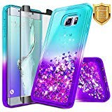 NageBee Glitter Case Compatible with Samsung Galaxy S6 Edge Plus /S6 Edge+ w/[Full Coverage Screen Protector 3D PET] Liquid Quicksand Waterfall Flowing Sparkle Shiny Bling Girls Cute Case -Auqa/Purple