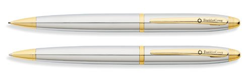 Franklin Covey Lexington, Ballpoint Pen and 0.9mm Pencil Set, Polished Chrome with Gold Appointments, by Cross (FC0011IM-3) (Slim Pen And Pencil Set)