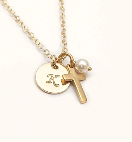 God Daughter Gift, Cross Initial Birthstone Necklace, 14k Gold Fill with 24k Satin Gold over Sterling Silver Baptism or Confirmation Present, Dainty Cross with Personalized Initial