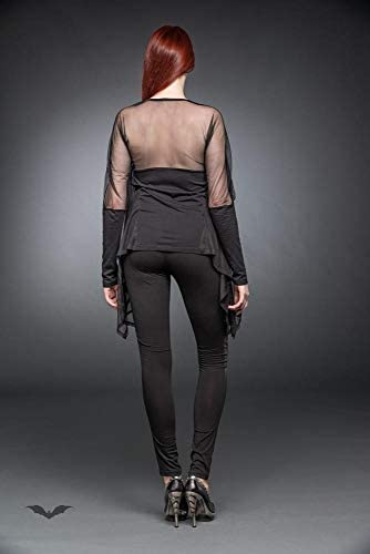 Queen Of Darkness - Black long shirt with cape S/Black