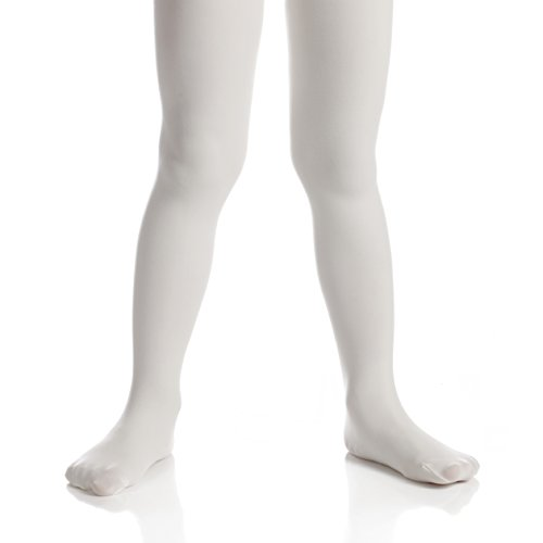 Top Fit Socks Girls' Microfiber Tights: Opaque Solid Seemless Footed Leggings-White, Size 12-14, 1 (Microfiber Kids Socks)