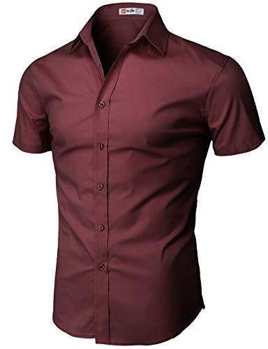 H2H Mens Basic Design Short Sleeves Button Down Shirt Wine US 3XL/Asia 4XL (KMTSTS0132)