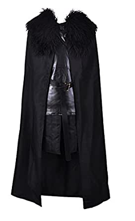 Jon Snow Costume Knights Watch Cosplay Halloween Costume Cape Outfit for Men and Boys