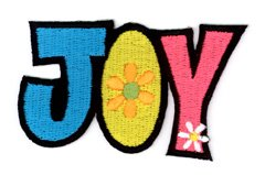 2.75' Fan (NSI - Celebrate Happiness - Beautifully Colored JOY Patch - 2.75 '' x 1.75'' - Colorful Decorative Embroidered Patch)