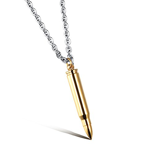 - LF Men's Personalized Stainless Steel Cremation Ash Bullet Pendant Necklace for Human Urns Name Date Customized Engraving Gold