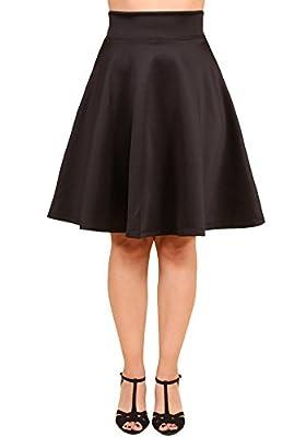 Sidecca 1950's Retro Midi High Waist Knee Length Flared A-Line Skater Skirt