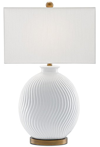 Currey and Company 6000-0162 Alcazar - One Light Table Lamp, White/Antique Brass Finish with Off White Shantung Shade