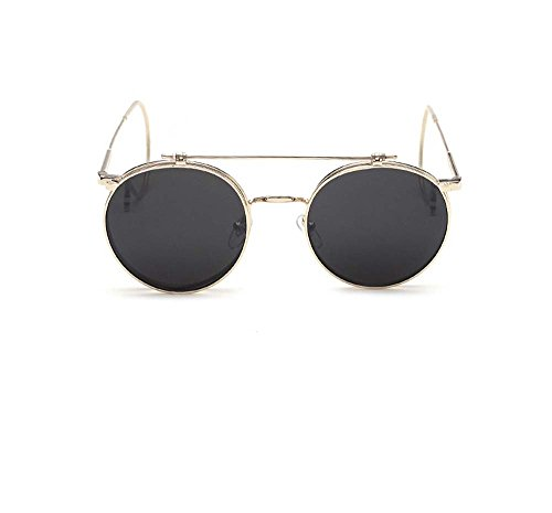 Men and women the influx of people retro round frame sunglasses hanging ear double-layer of plain glass spectacles (Gold frame gray - Round Cartier Glasses