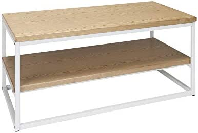 OFM 161 Collection Industrial Modern Wood Top Metal Frame Coffee Table with Wood Shelf, in White Natural