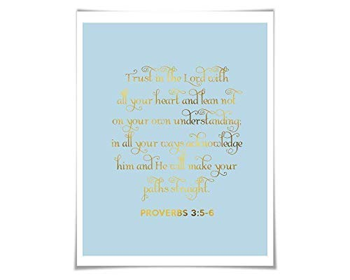 Trust in the Lord Gold Foil Print. 35 Colours/3 Sizes. Proverbs 3:5-6. Christian Wall Art. Scripture Quote Art.