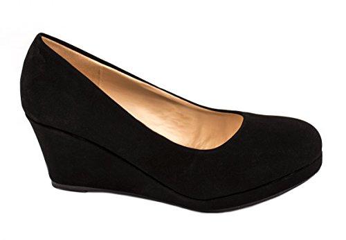 Damen Pumps Keilabsatz Wedges Schuhe Hochzeit Farbe Schwarz, Größe 39
