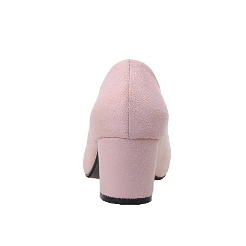 Kitten Pumps Imitated Pink VogueZone009 Suede Shoes on Pull Solid Heels Women's ZqqxTYOA