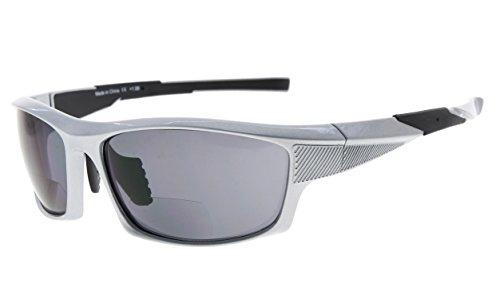 Eyekepper TR90 Sports Bifocal Sunglasses Baseball Running Fishing Driving Golf Softball Hiking Readers (Pearly Silver, - Bifocal Glasses Driving