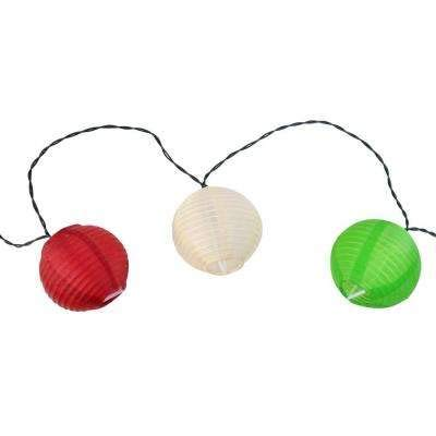 Moonrays 10-Light 15 ft. Solar Powered Integrated LED Oriental Lantern String Lights -