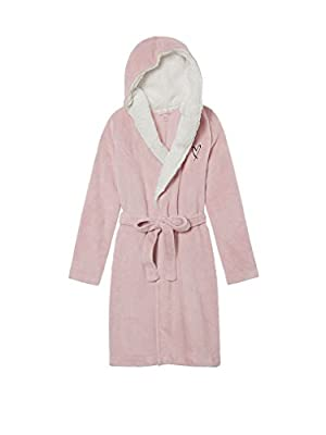 Victoria's Secret Cozy Plush Sherpa Fleece Short Hooded Robe - Burnished Lilac Pink - XS/S