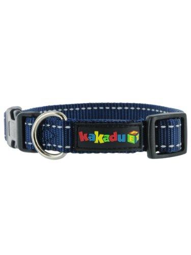 """Empire Tracks Adjustable Nylon Dog Collar by Kakadu Pet, Large, 1"""" x 16-24"""", Marine (Blue with White Stitch)"""