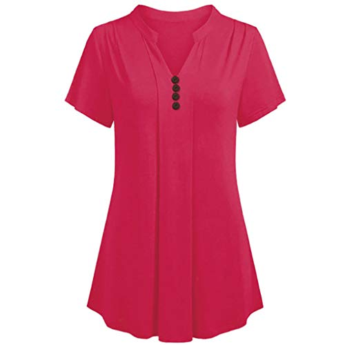 (HIRIRI Women Blouse Short Sleeve V Neck Front Pleated Flared Comfy Loose Fit Tunic Top Plus)