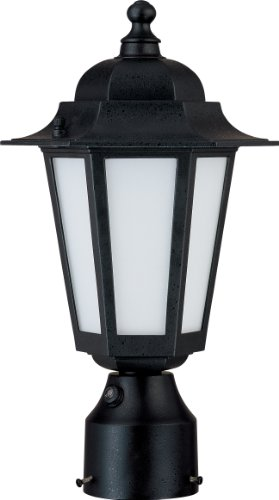 Nuvo Lighting 60/2213 Cornerstone Outdoor Post Lantern with Photocell, Frosted Glass, Textured (Black Photocell Landscape Lighting)