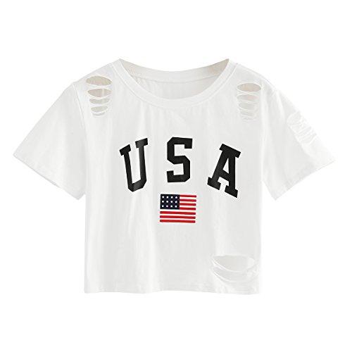 White Ladies Camouflage - SweatyRocks Tshirt Camo Print Distressed Crop T-Shirt White XXL