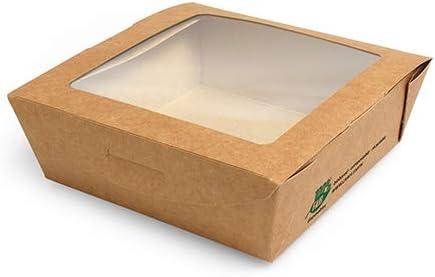 Papstar - 3 x 40 cajas de cartón con ventana transparente de PLA rectangular 650 ml 4,5 x 12 x 12 cm marrón: Amazon.es: Hogar