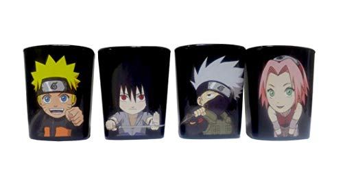 Naruto Black Shot Glasses Officially Licensed - Set of Four, 2oz (Best Selling Anime Franchises)