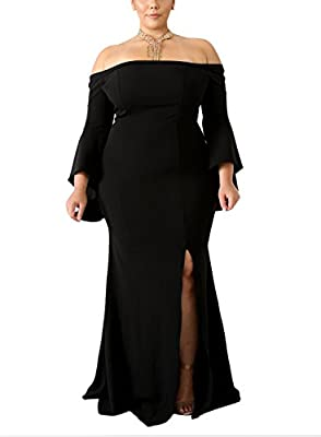 Lalagen Women's Plus Size Off Shoulder Bodycon Long Evening Party Dress Gown