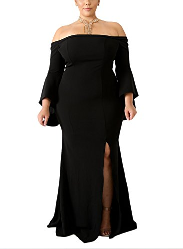Size Off Shoulder Bodycon Long Evening Party Dress Gown Black XL (Evening Gown Prom Ball Dress)