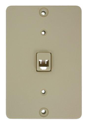 Leviton 40253-I Telephone Wall Phone Jack, 6P4C, - Jack Phone Ivory