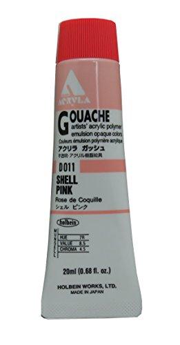 Holbein Acryla Gouache Artists Acrylic Polymer Emulsion, 20ml Shell Pink (D011) - Acrylic Emulsion