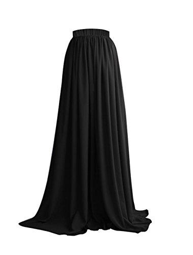 Couturebridal® Femme Longue Taille Maxi Pour Haute Mariage Soirée Noir Chiffon Jupe 0yvOmN8nw
