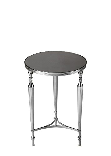 - Butler Specialty Company Polished Aluminum and Black Mirror End Table