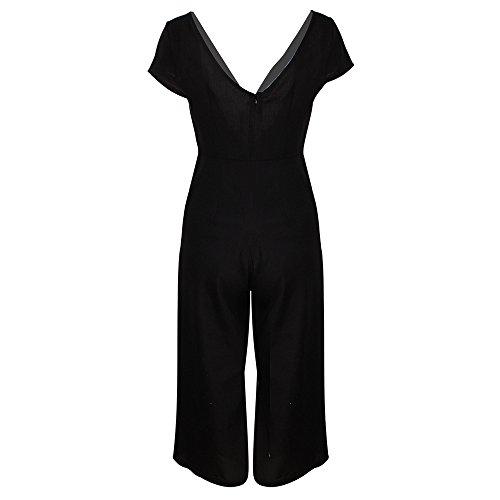 HebeTop Women's Summer Striped Jumpsuit Casual Loose Cap Sleeve Jumpsuit Rompers Black